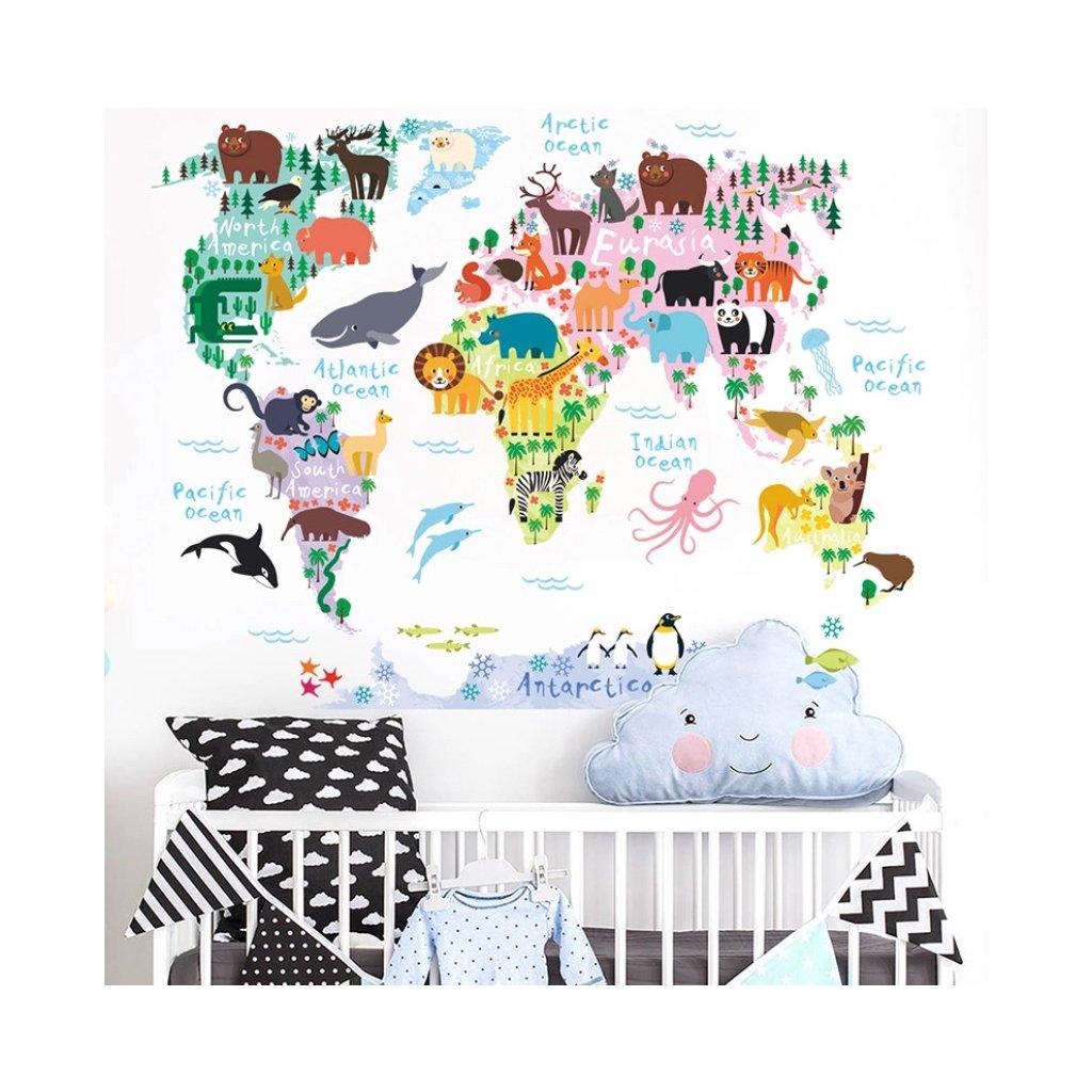 samolepka na stenu pre deti detska nalepka dekoracia farebna mapa sveta 3