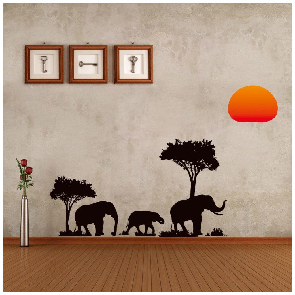 """Autocolant de perete """"Elefanții africani"""" 37x89 cm"""