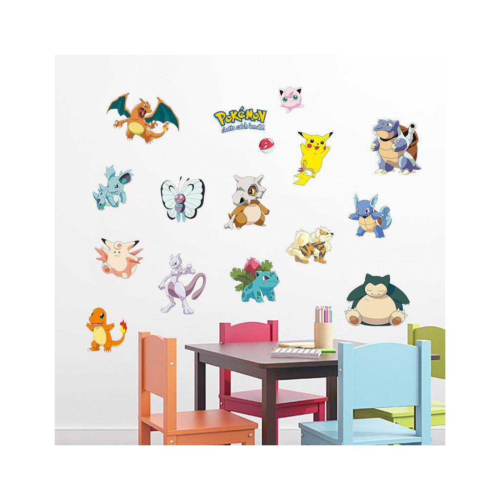 detska samolepka na stenu samolepiaca tapeta dekoracna nalepka pre deti pokemon postavicky nahlad stylovydomov