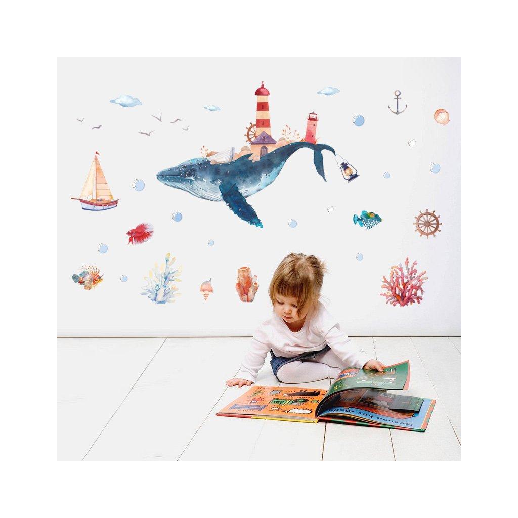 """Autocolant de perete """"Balenă"""" 101x138cm"""