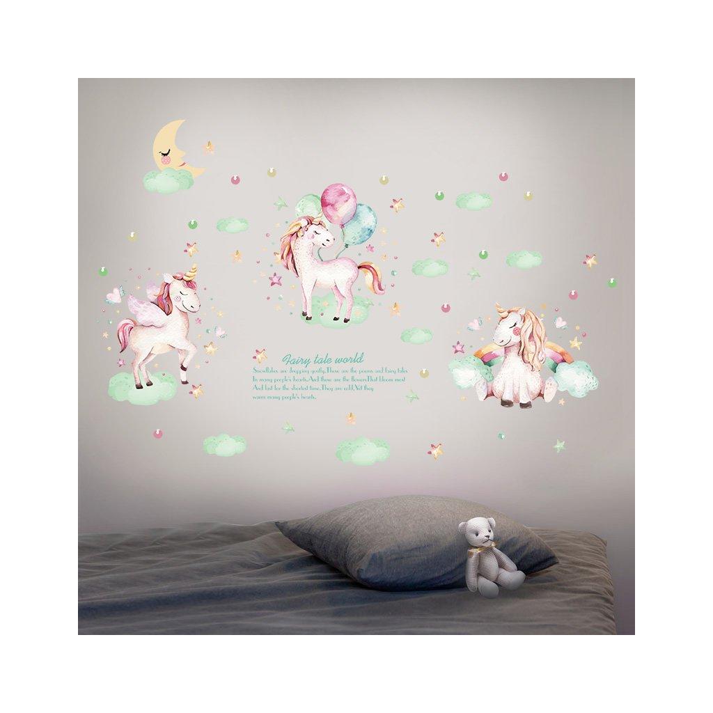 """Autocolant de perete """"Unicorni 4"""" 57x116 cm"""