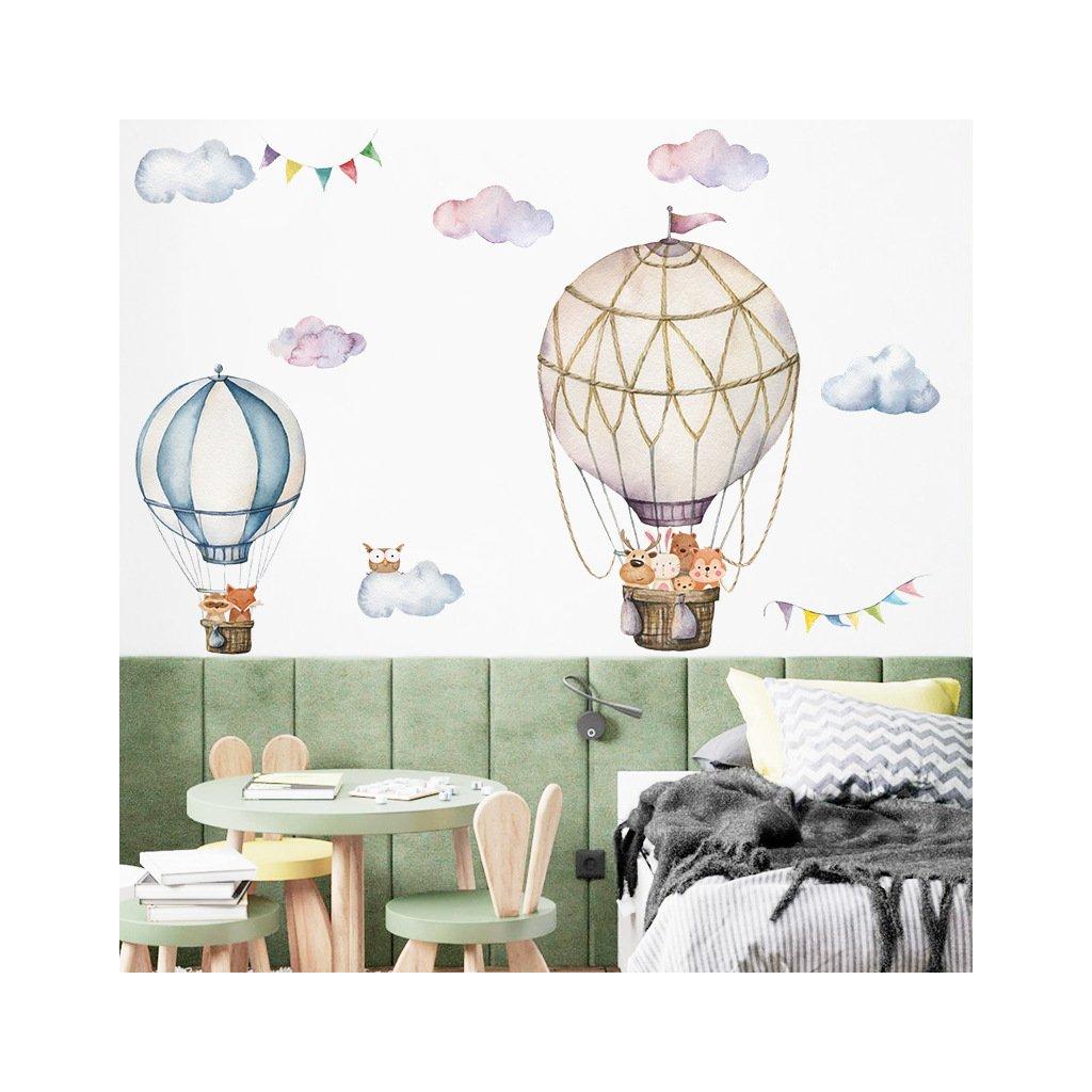 """Autocolant de perete """"Baloane cu aer cald cu animaluțe 3"""" 87x90 cm"""