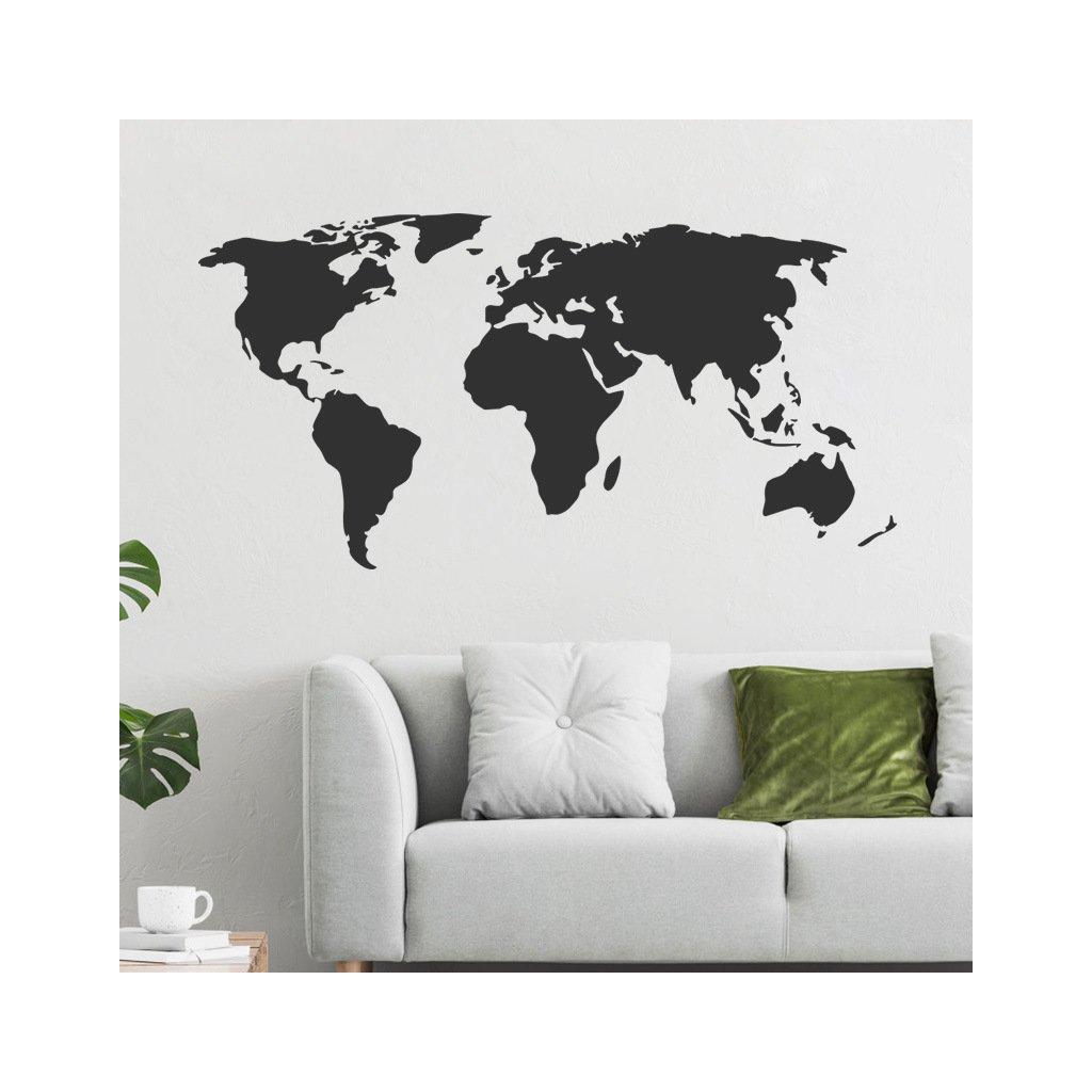 "Autocolant de perete ""Harta lumii - negru"" 64x125 cm"