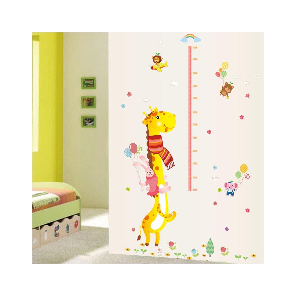 """Autocolant de perete """"Metru pentru copii - Girafa 2"""" 140x110 cm"""