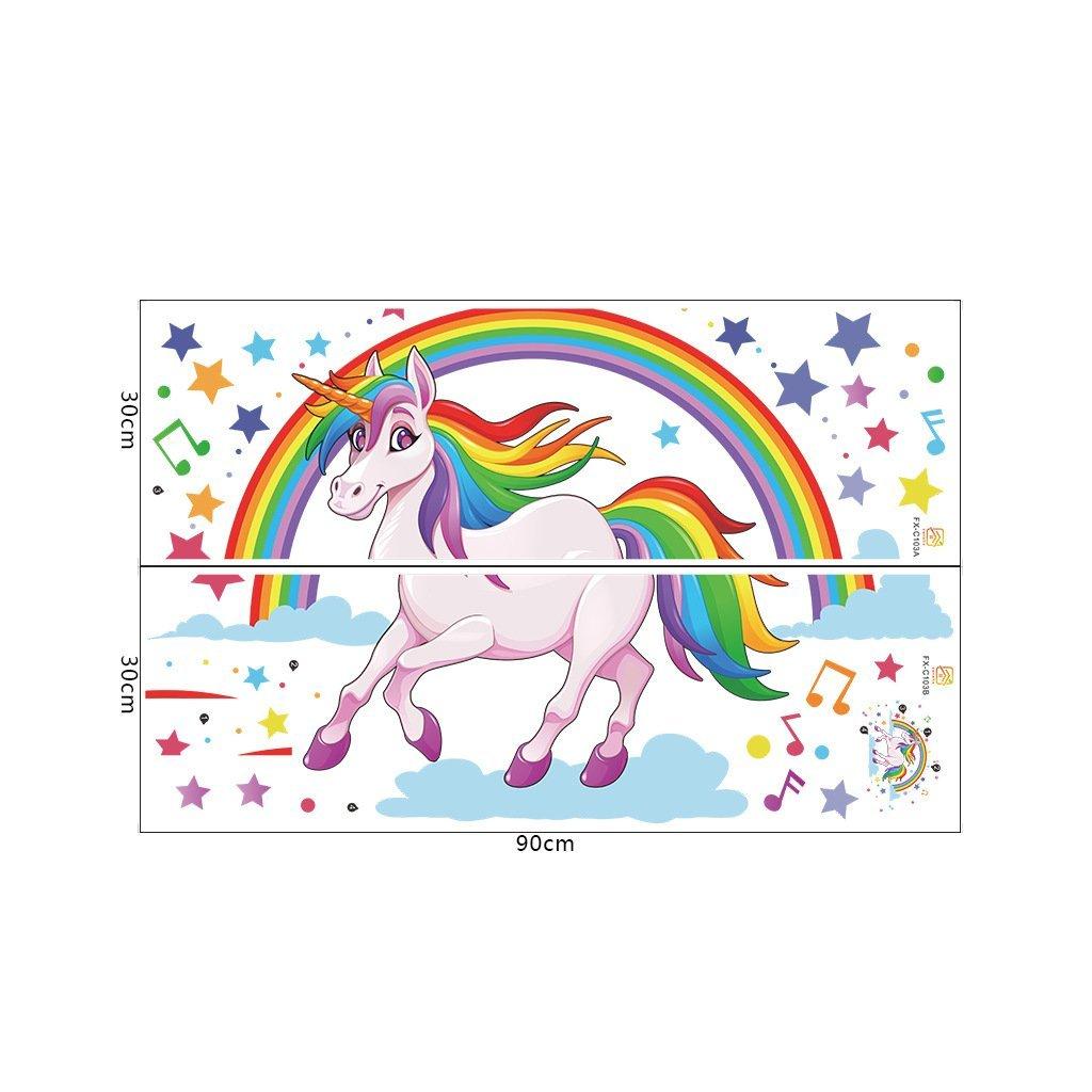 """Autocolant de perete """"Unicorn cu curcubeu"""" 62x106 cm"""