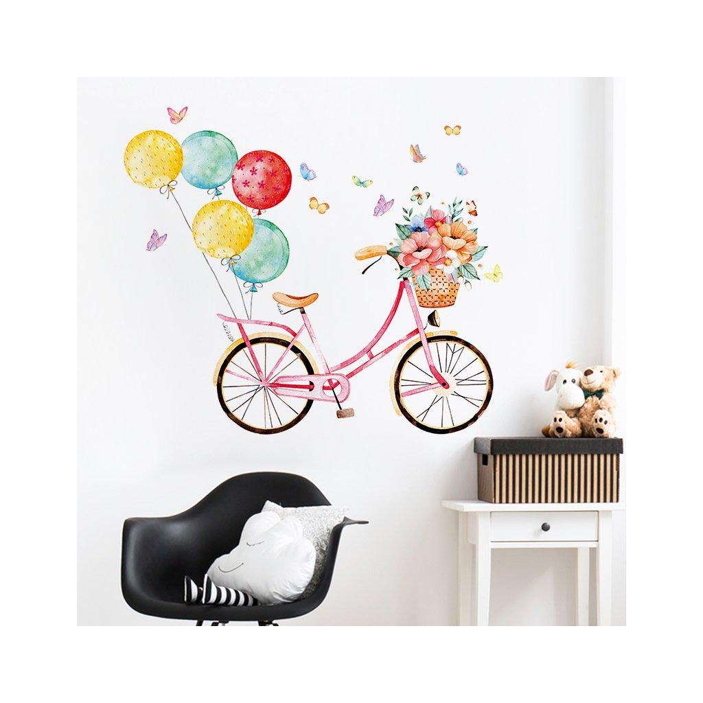 "Autocolant de perete ""Bicicleta cu baloane"" 86x100 cm"