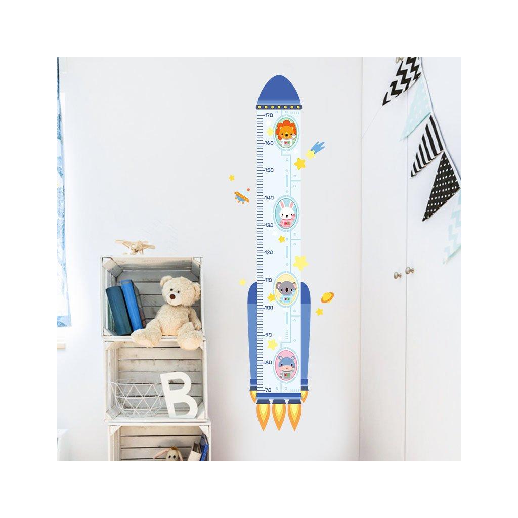 """Autocolant de perete """"Metru pentru copii - Rachetă"""" 129x38 cm"""