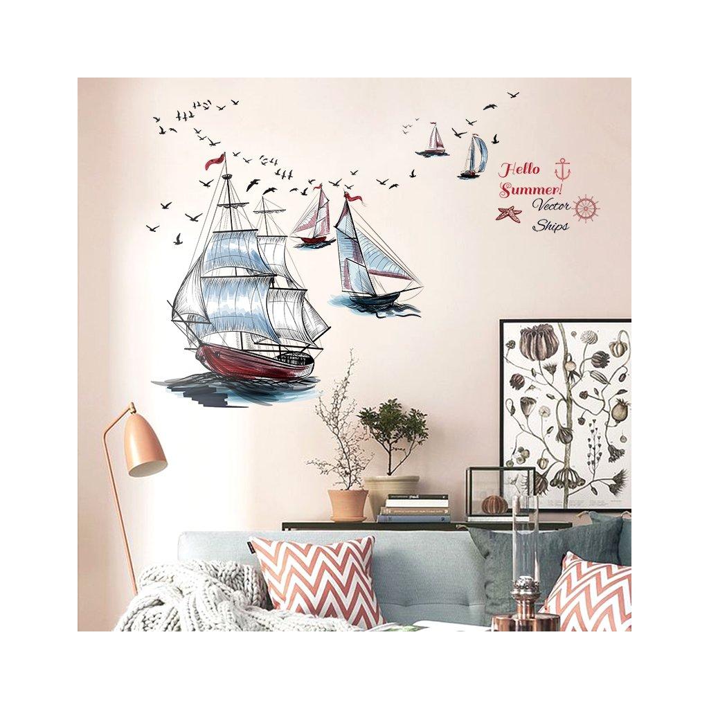 """Autocolant de perete """"Barcă cu pânze"""" 98x87 cm"""