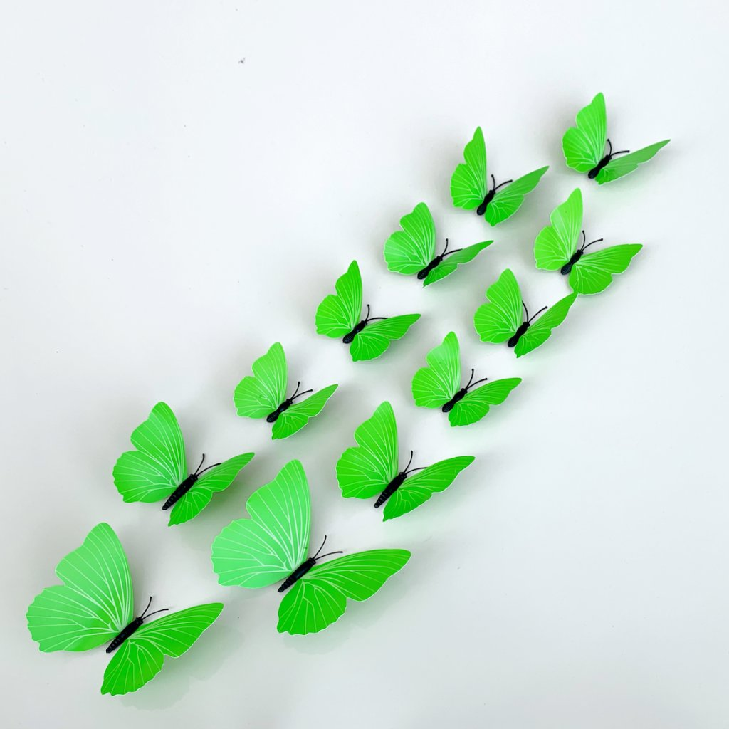 M 015 Plastové 3D Motýle zelené kópia