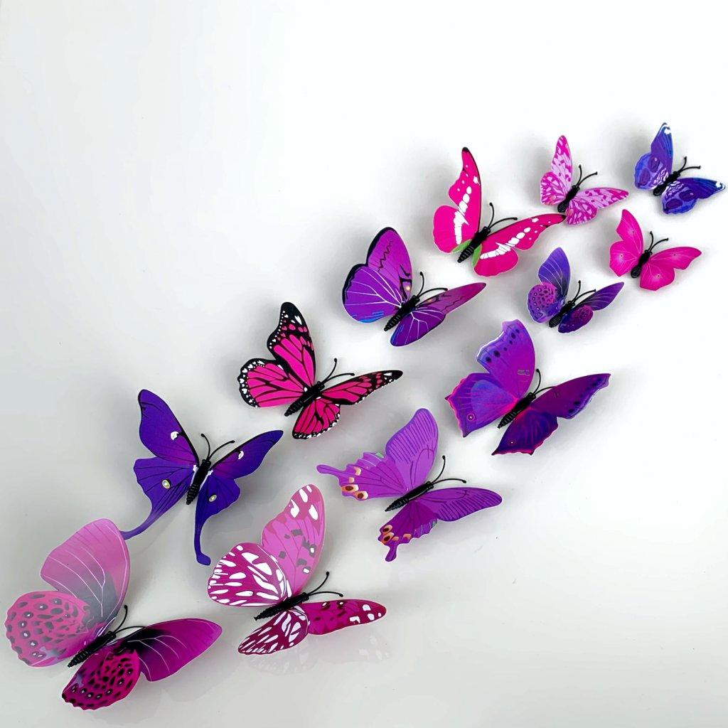 M 017 Realistické plastové 3D Motýle fialové kópia