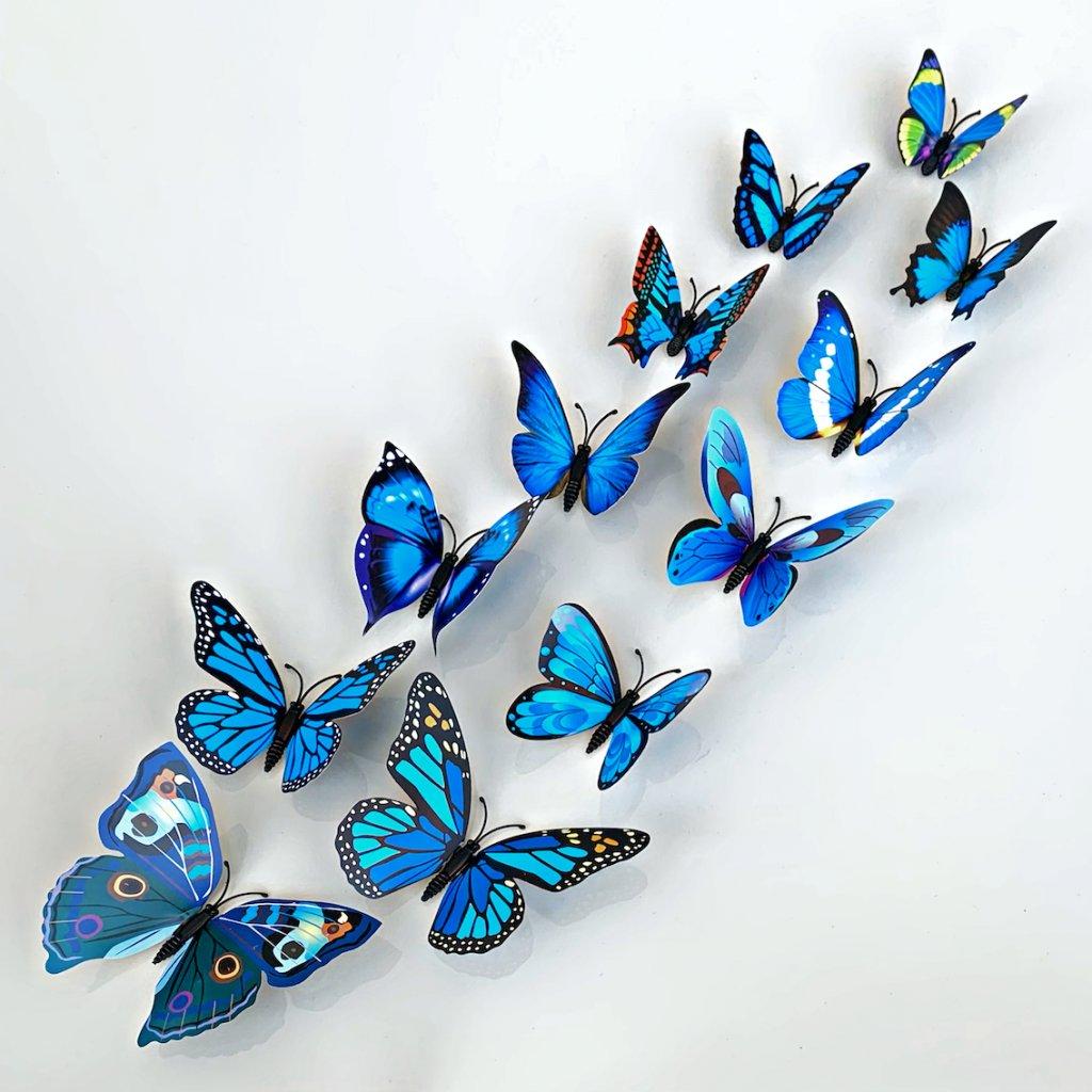 M 020 Realistické plastové 3D Motýle modré kópia