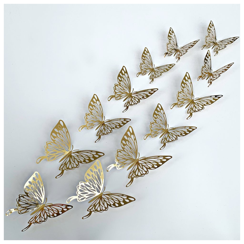 M 026 Metalické Motýle Zlaté 3 kópia
