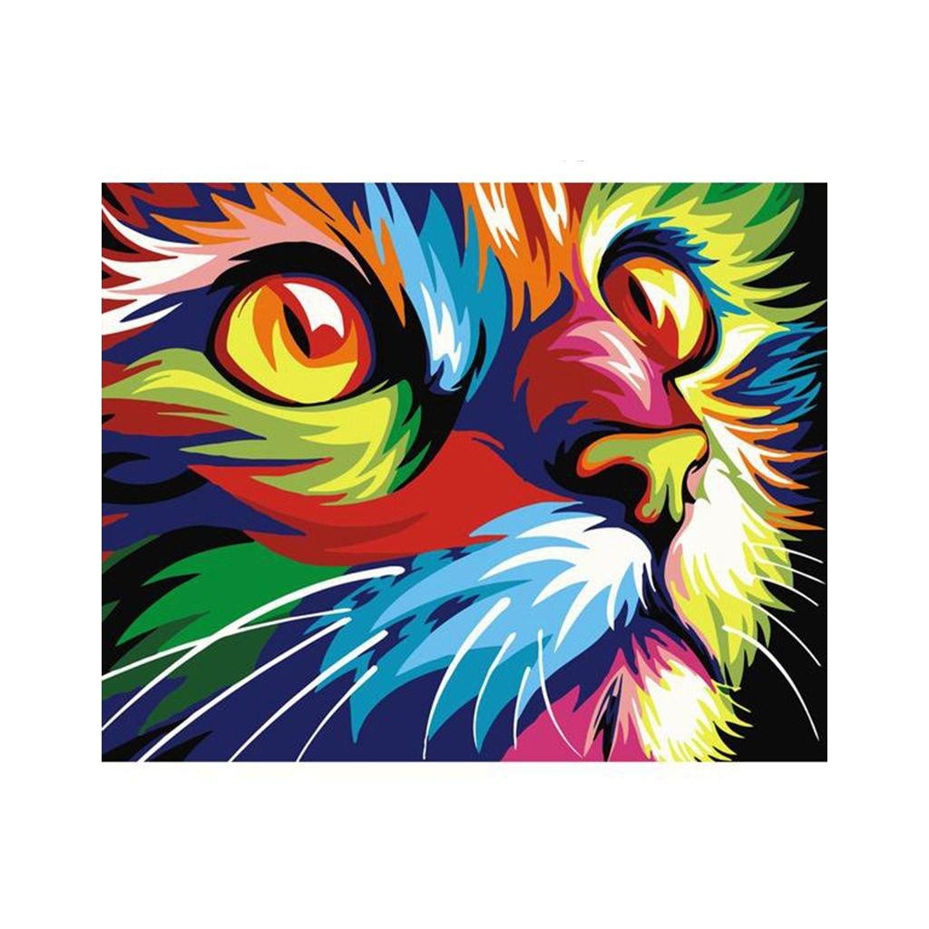 """Pictura pe numere cu un cadru """"Pisică colorată"""" 50x40 cm"""