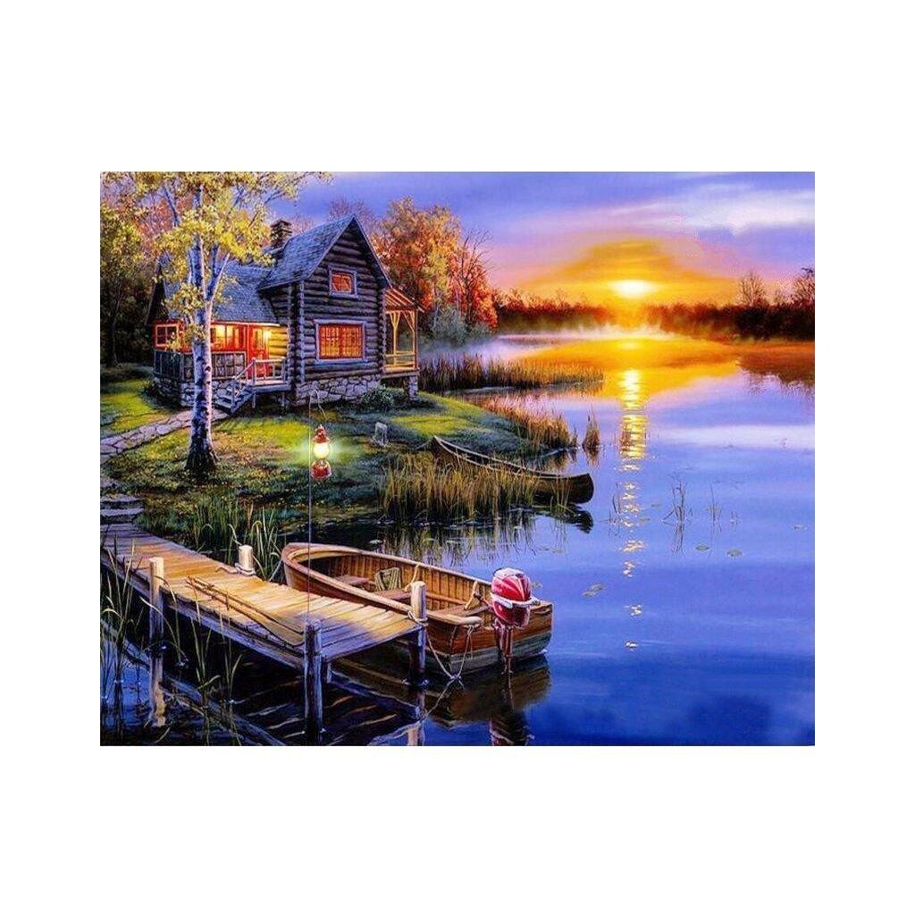 """Pictura pe numere cu un cadru """"Cabană lângă lac"""" 50x40 cm"""