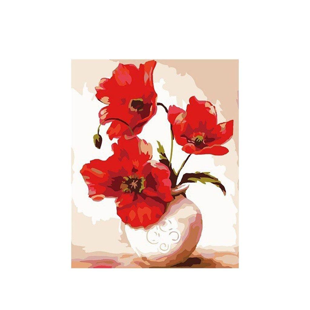 """Pictura pe numere cu un cadru """"Flori de mac într-o vază"""" 50x40 cm"""