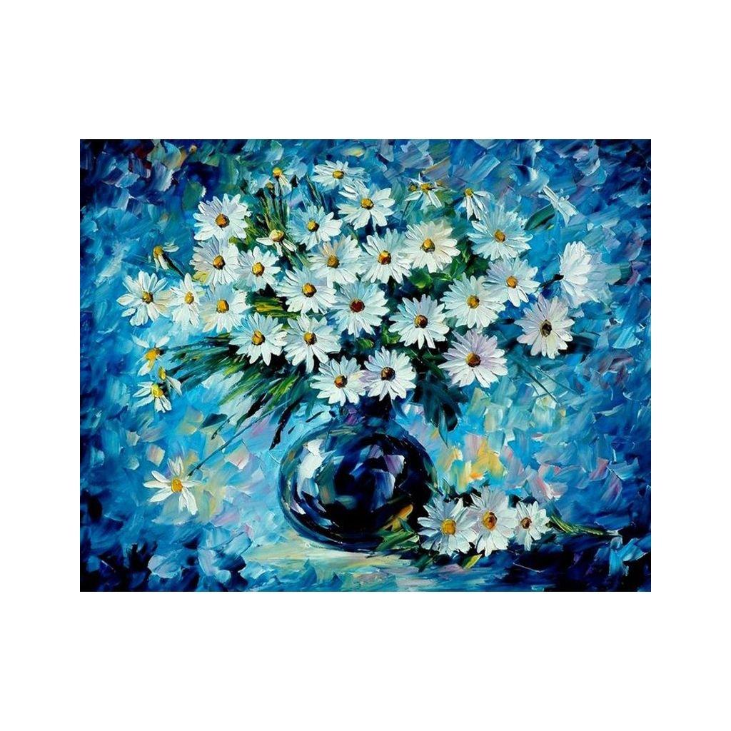 """Pictura pe numere cu un cadru """"Flori într-o vază 2"""" 50x40 cm"""