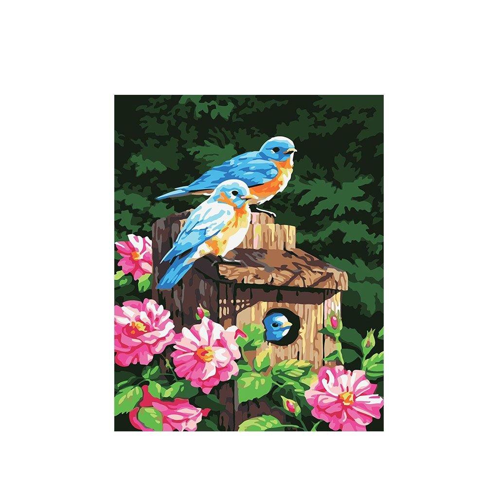"""Pictura pe numere cu un cadru """"Păsări"""" 50x40 cm"""