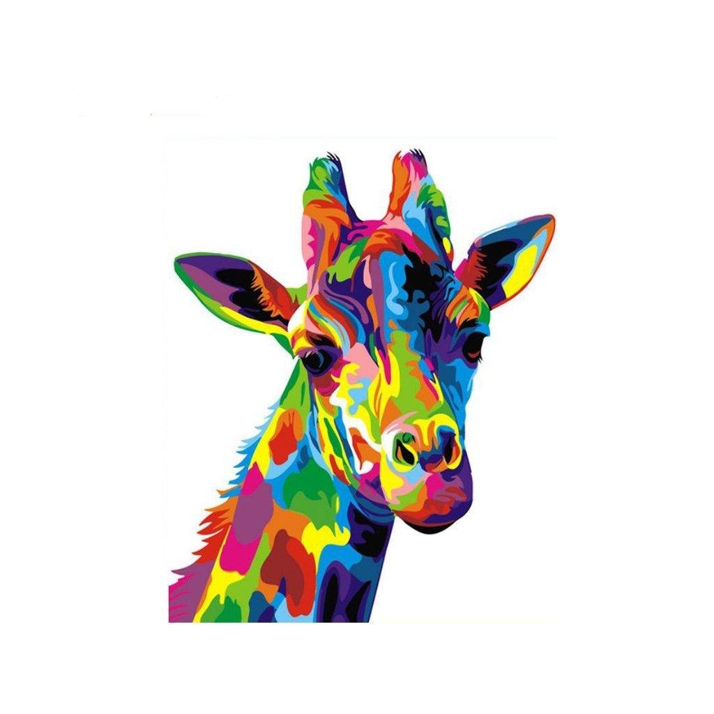 """Pictura pe numere cu un cadru """"Girafă colorată"""" 50x40 cm"""