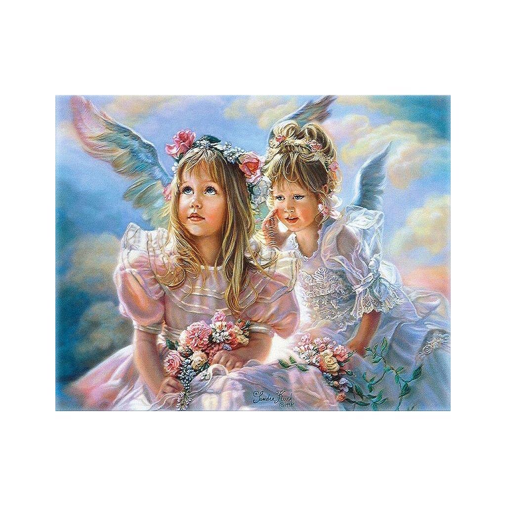 """Pictura pe numere cu un cadru """"Îngeri"""" 50x40 cm"""