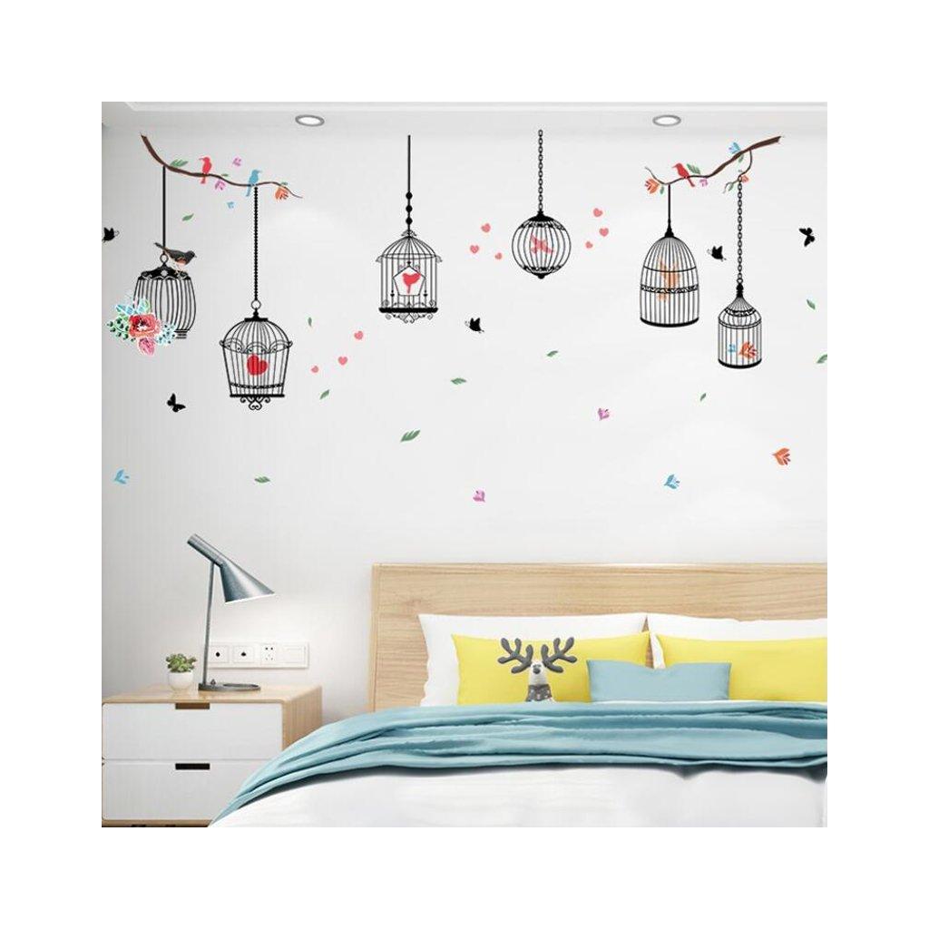 """Autocolant de perete """"Cuști cu păsări 2"""" 96x190cm"""