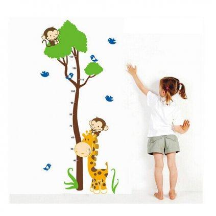 "Autocolant de perete ""Metru pentru copii - Girafa cu copac"" 75x150 cm"
