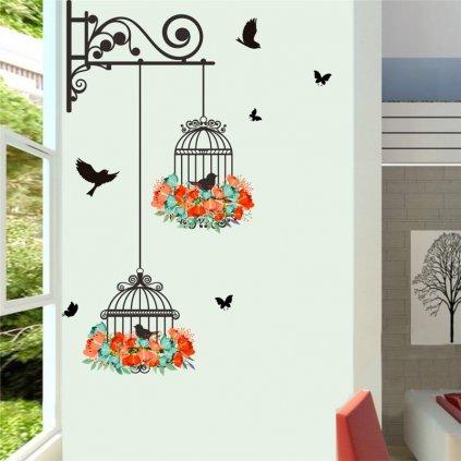 samolepiaca tapeta dekoracna samolepka na stenu nalepka kletky s vtakmi a kvetmi interierovy dizajn dekoracia nahlad balenia stylovydomov