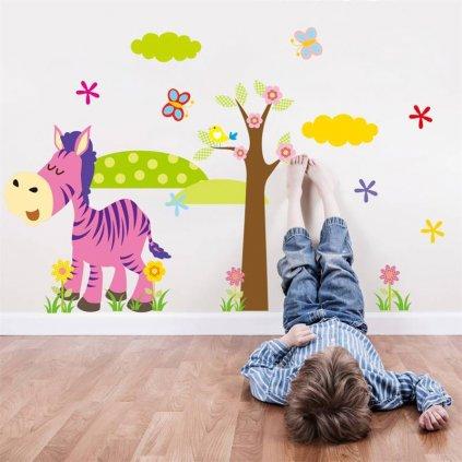 """Autocolant de perete """"Zebră colorată cu copac"""" 46x36 cm"""