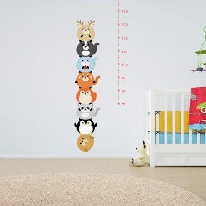 detska samolepka na stenu samolepiaca tapeta dekoracna nalepka pre deti detsky meter zvieratka vizualizacia stylovydomov