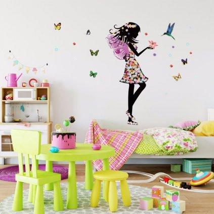 """Autocolant de perete """"Zână cu colibri"""" 110x140 cm"""