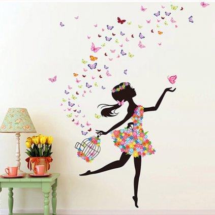 """Autocolant de perete """"Fetița cu fluturi și cușcă"""" 130x170 cm"""