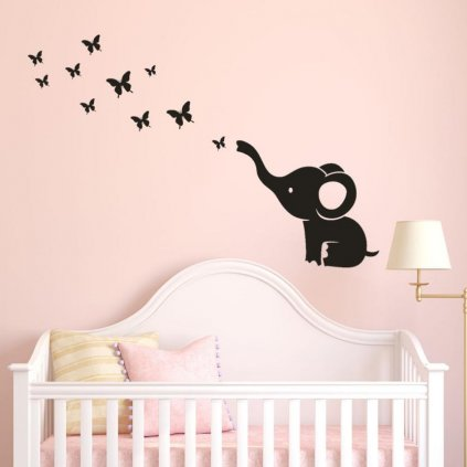 dekoracna samolepka na stenu vinylova nalepka interierova dekoracia cierna slonik s motylmi nahlad