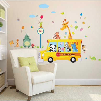 samolepka na stenu pre deti detska nalepka dekoracia autobus so zvieratkami vizualizacia stylovydomov