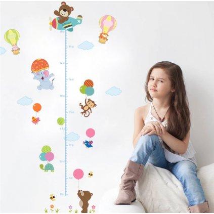 samolepka na stenu pre deti detska nalepka dekoracia detsky meter zvieratka s balonmi stylovydomov