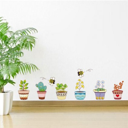 "Autocolant de perete ""Plante în ghiveci"" 50x70 cm"