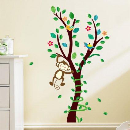 """Autocolant de perete """"Copac cu maimuță"""" 85x45 cm"""