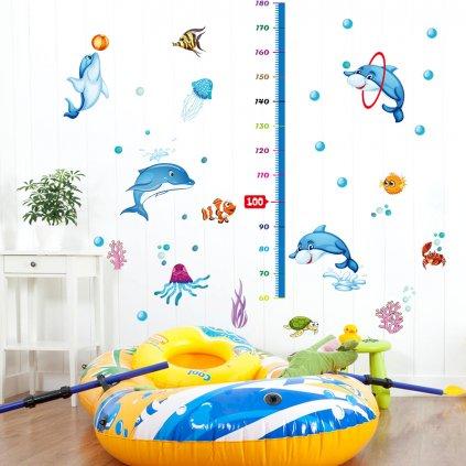 """Autocolant de perete """"Metru pentru copii - Delfini"""" 165x125cm"""