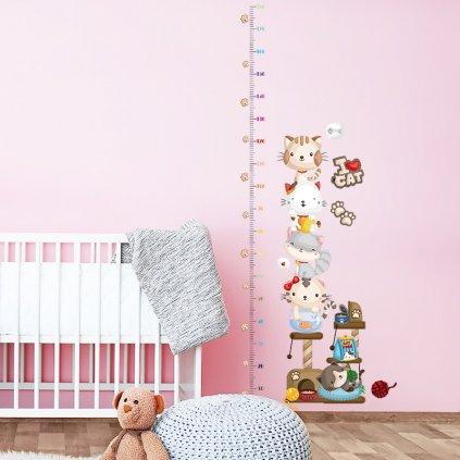 """Autocolant de perete """"Metre pentru copii - Pisici"""" 180x65cm"""