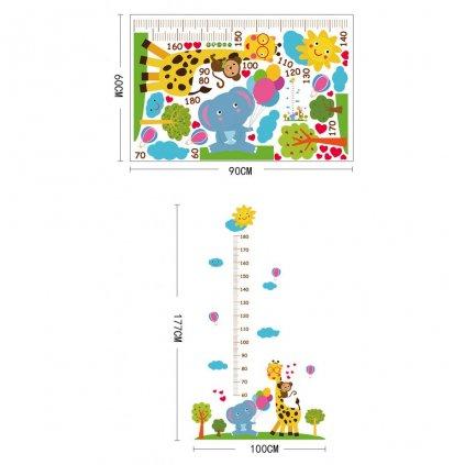 """Autocolant de perete """"Metru pentru copii - Girafă cu elefant"""" 177x100cm"""