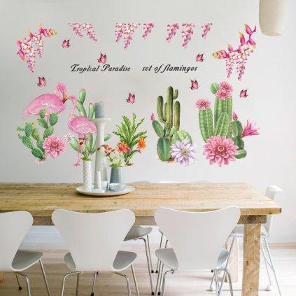 "Autocolant de perete ""Cactusi și flamingo"" 64x108cm"