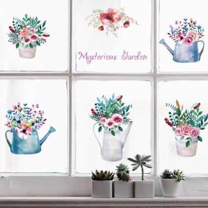 """Autocolant de perete """"Flori în vaze"""" 65x112cm"""