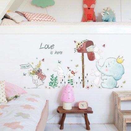 "Autocolant de perete ""Elefant cu iepurași"" 52x110 cm"