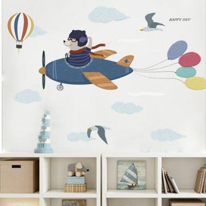"""Autocolant de perete """"Ursul în plan"""" 55x150 cm"""