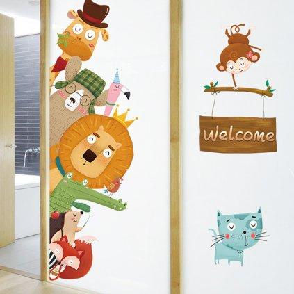 """Autocolant de perete """"Animale - Bun venit"""" 140x80 cm"""