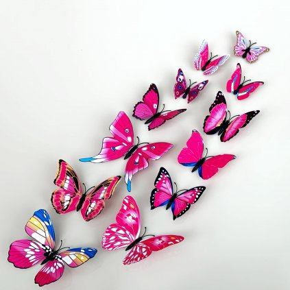 M 018 Realistické plastové 3D Motýle ružové kópia