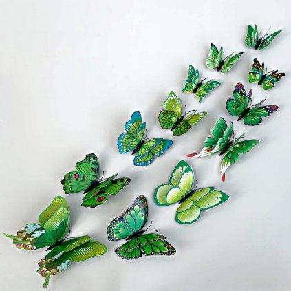 M 024 Realistické plastové 3D Motýle s dvojitými krídlami zelené kópia