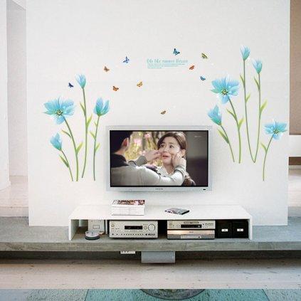"""Autocolant de perete """"Flori albastre pal"""" 105x185cm"""