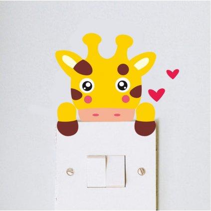 samolepka na stenu vypinac zirafa pre deti detska nalepka stylovydomov interier