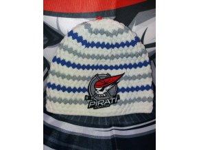 Zimní čepice pruh modrá+šedá