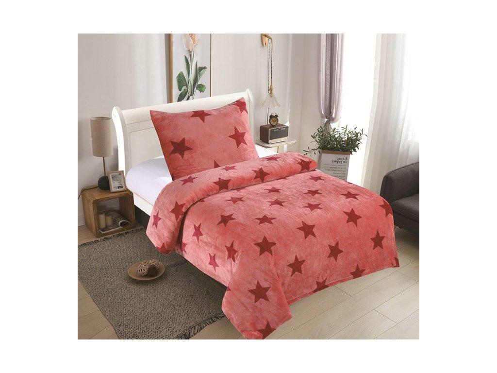 Mikroplyšové povlečení - Hvězdy růžové