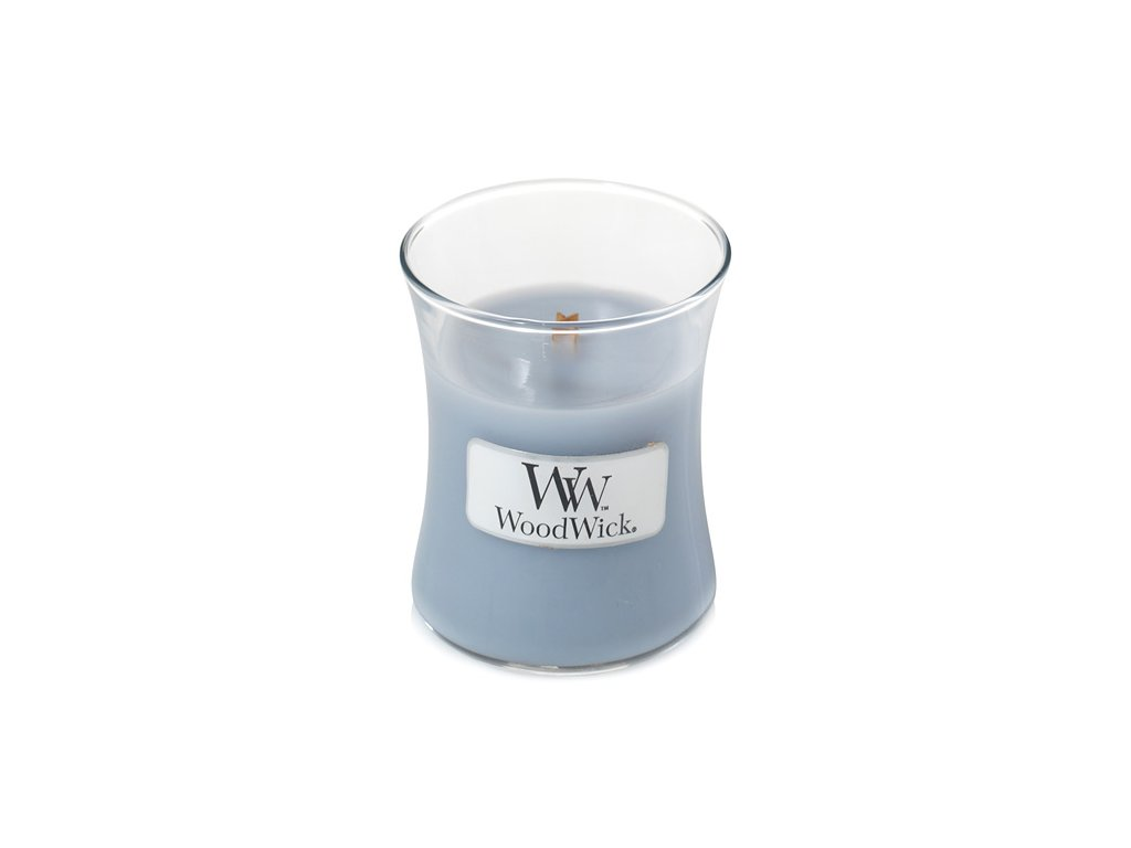 Svíčka oválná váza  WoodWick 85g - Čisté prádlo, jasmín a růže